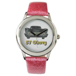57 Chevy Glitter with Pink Glitter Strap Watch