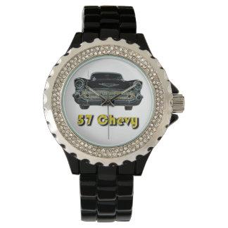57 Chevy Rhinestone with Black Enamel Watch