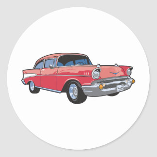 57 Classic Car Round Sticker