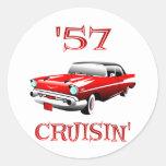57 Crusin Car Round Sticker