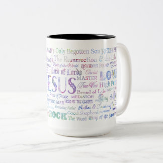 57 Names of JESUS Coffee Mug, Pastel Colors Two-Tone Coffee Mug