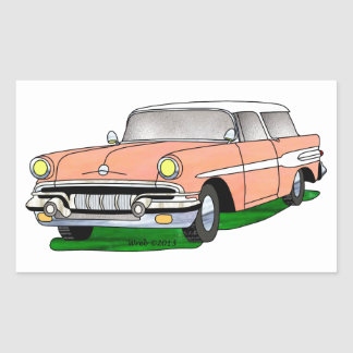 57 Pontiac Safari Rectangle Sticker