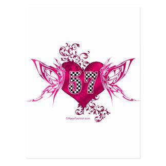 57 racing numbers butterflies postcard