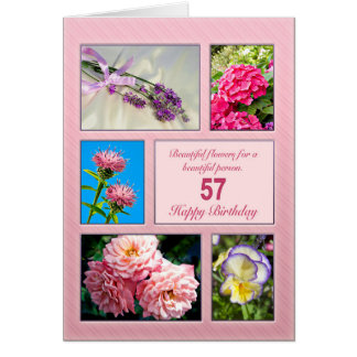 57th birthday, beautiful flowers card