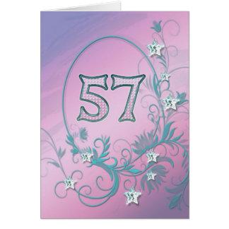 57th Birthday card with diamond stars