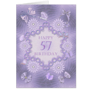 57th birthday card with lavender flowers