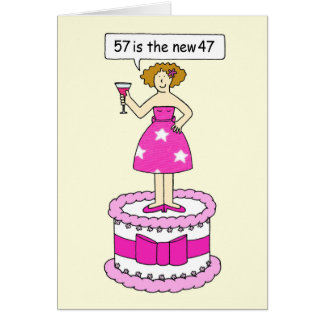 57th Birthday humo for female. Card