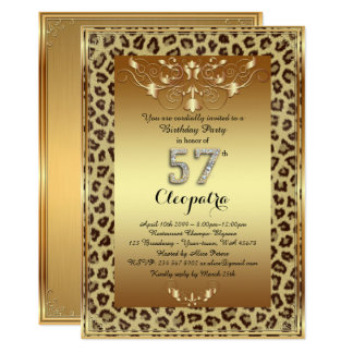 57th, Birthday Party 57th, Royal Cheetah gold plus Card