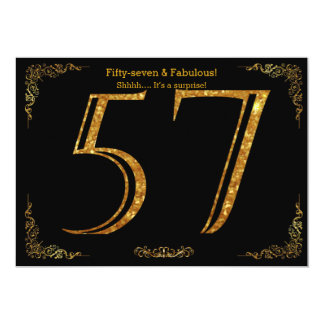 57th Birthday party,Gatsby styl,black gold glitter Card