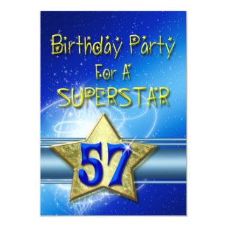 57th Birthday party Invitation for a Superstar.