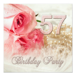 57th Birthday party invitation, roses and pearls 13 Cm X 13 Cm Square Invitation Card