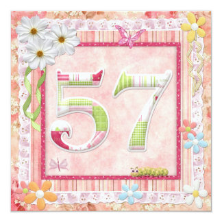 57th birthday party scrapbooking style personalized invite