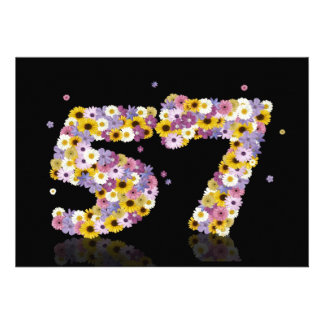 57th Birthday party with flowered letters Personalized Announcement