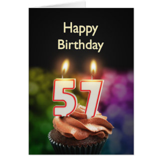 57th Birthday with cake and candles Greeting Card
