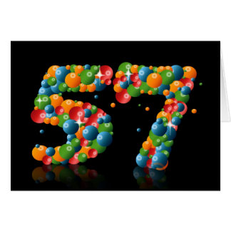 57th birthday with numbers formed from balls greeting card