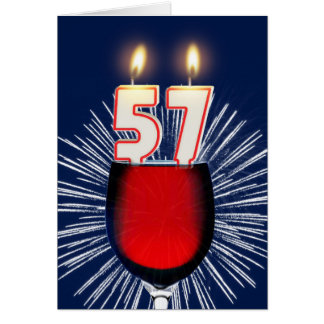 57th Birthday with wine and candles Card