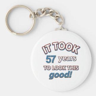 57th year birthday designs basic round button key ring