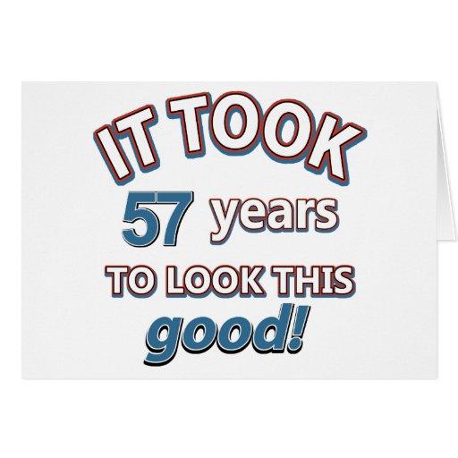 57th year birthday designs greeting cards