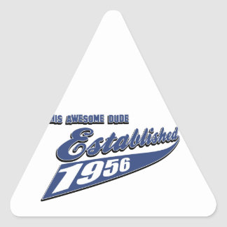 57th year birthday designs triangle sticker