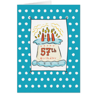 57tht Birthday Cake on Blue Teal with Dots Greeting Card