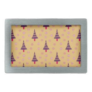 587 Cute Christmas tree and snowflake pattern.jpg Rectangular Belt Buckles