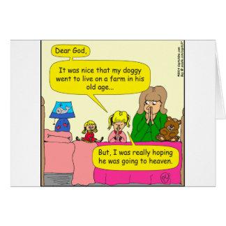 587 doggy went to live on farm cartoon greeting card