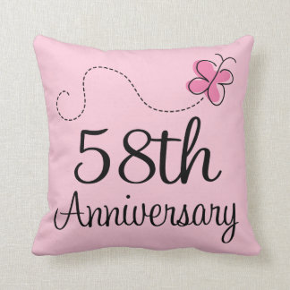 58th Anniversary Celebration Gift (butterfly) Throw Pillows