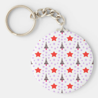 592 Cute Christmas tree and stars pattern.jpg Basic Round Button Key Ring