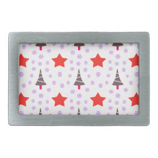 592 Cute Christmas tree and stars pattern.jpg Belt Buckle