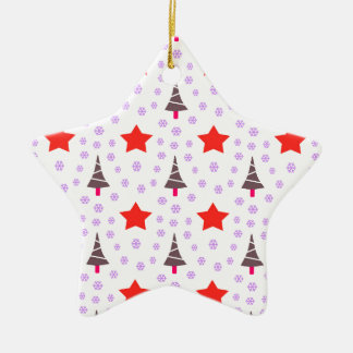 592 Cute Christmas tree and stars pattern.jpg Ceramic Star Decoration
