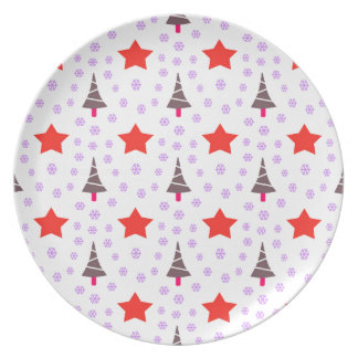 592 Cute Christmas tree and stars pattern.jpg Dinner Plates