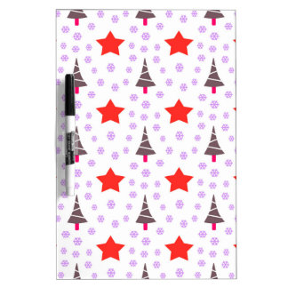 592 Cute Christmas tree and stars pattern.jpg Dry Erase Whiteboards