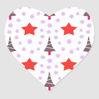 592 Cute Christmas tree and stars pattern.jpg Heart Sticker