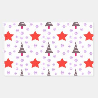 592 Cute Christmas tree and stars pattern.jpg Rectangular Sticker