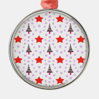 592 Cute Christmas tree and stars pattern.jpg Silver-Colored Round Decoration