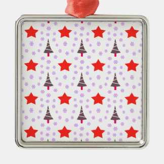 592 Cute Christmas tree and stars pattern.jpg Silver-Colored Square Decoration