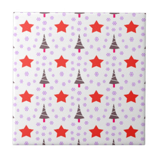592 Cute Christmas tree and stars pattern.jpg Small Square Tile