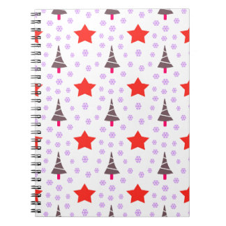 592 Cute Christmas tree and stars pattern.jpg Spiral Notebooks