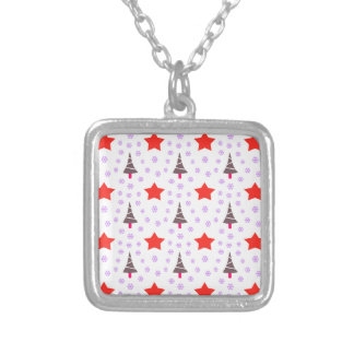 592 Cute Christmas tree and stars pattern.jpg Square Pendant Necklace