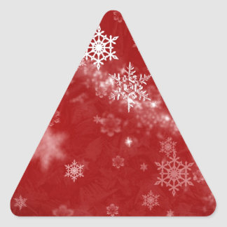 597 DEEP RED WINTER FROST SNOWFLAKES BACKGROUNDS W TRIANGLE STICKER