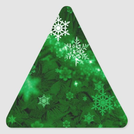 597 DEEP RICH GREENS WHITE WINTER FROST SNOWFLAKES STICKER