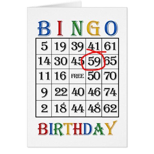 59th Birthday Bingo card