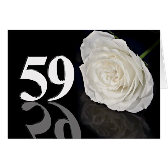 59th Birthday Card with a classic white rose