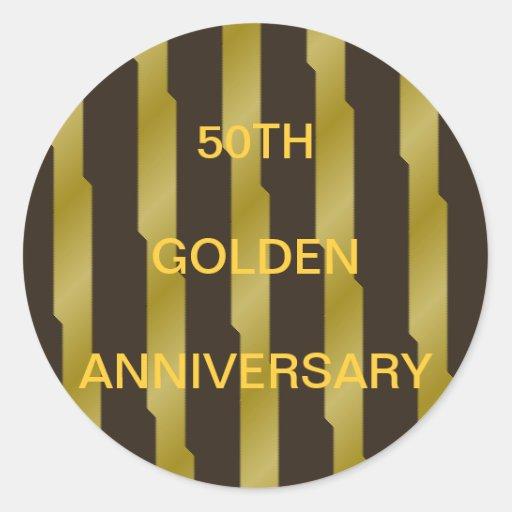 59TH Golden Anniversary Gold Stripes Sticker