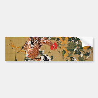 5. 向日葵雄鶏図, 若冲 Sunflower and Rooster, Jakuchū Bumper Sticker
