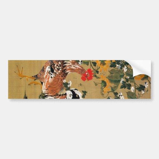 5. 向日葵雄鶏図, 若冲 Sunflower and Rooster, Jakuchū Bumper Sticker