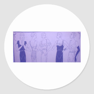 5 1920s Deco Flappers in Cocktail Dresses Round Sticker