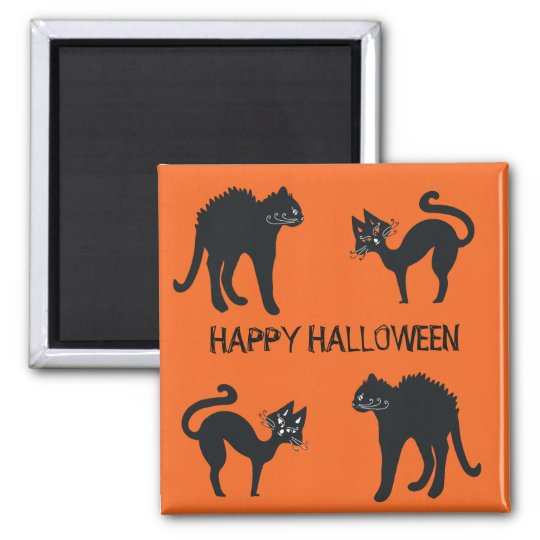 5.1 Cm Square Magnet Happy Halloween Black Cats