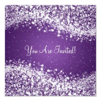 "5.25"" Elegant Wedding Sparkling Wave Purple 13 Cm X 13 Cm Square Invitation Card"