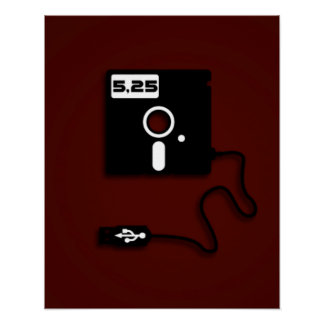 5 25-inch floppy disk USB Geek Nerd Posters